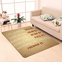 Nalahome Custom carpet nspirational Quotes about Life Love Anger Fear Memories Vintage Spiritual Print Ivory Peru White area rugs for Living Dining Room Bedroom Hallway Office Carpet (36x60)