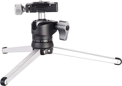 kakafoto Mini compacto trípode con rótula de bola y placa de QR ...