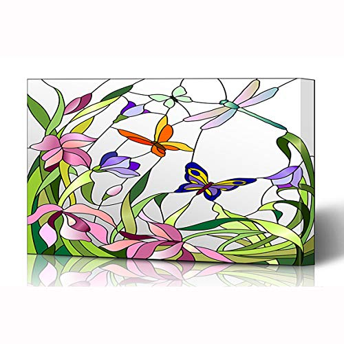 Ahawoso Canvas Prints Wall Art 16x12 Inches Glass Mosaic Stained Window Flowers Bloom Butterflies Floral Bright Nature Pattern Shape Nouveau Wooden Frame Printing Home Living Room Office Bedroom