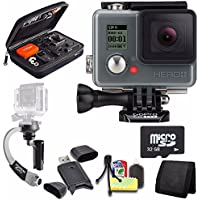 GoPro HERO+ LCD + Steadicam Curve for GoPro HERO Action Cameras (Silver) + 32GB Memory Card + Case for GoPro HERO4 and GoPro Accessories + 6pc Starter Kit Bundle