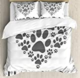 Dog Lover Decor Queen Size Duvet Cover Set by Ambesonne, I Love Dog Typography Typescript Text Heart Shaped Monochromic Artwork Veterinary, Decorative 3 Piece Bedding Set with 2 Pillow Shams