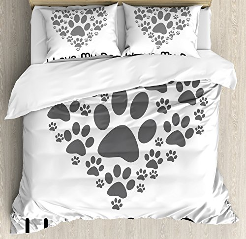 Dog Lover Decor Queen Size Duvet Cover Set by Ambesonne, I Love Dog Typography Typescript Text Heart Shaped Monochromic Artwork Veterinary, Decorative 3 Piece Bedding Set with 2 Pillow Shams by Ambesonne