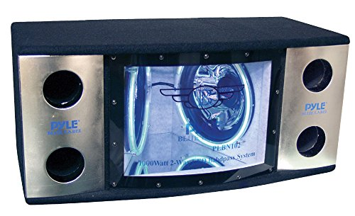 Subwoofer 12 Bandpass - Pyle PLBN122 Dual 12'' 2 Way 1200 Watt Bandpass w/Blue Woofer Rings