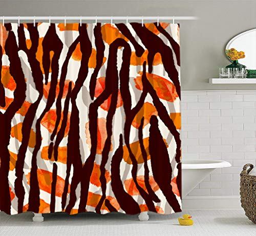 Tyfuty Watercolor-Tiger Fabric Shower Curtain 72x78 inches Watercolor Abstract Zebra Skin Tie Dye Gradient Brush Stains Waterproof Bathroom Shower Curtains Set of 12 Hooks - Tie Dye Zebra