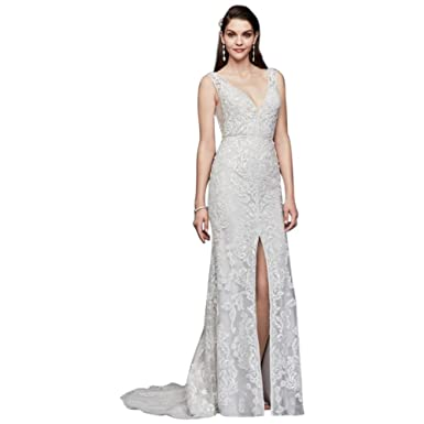 7f54cb32969 Plunging V-Neck Beaded Illusion Wedding Dress Style SWG785