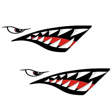 Gazechimp 2 Piezas de Pegatinas Artificial con Patrón Diseño de Boca Diente Tiburón para Barco Kayak Deportes Canoa Pesca Bote Compatibilidad ...