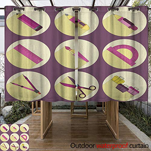 (WinfreyDecor Outdoor Ultraviolet Protective Curtains Stationery Icons Set W96 x L72)