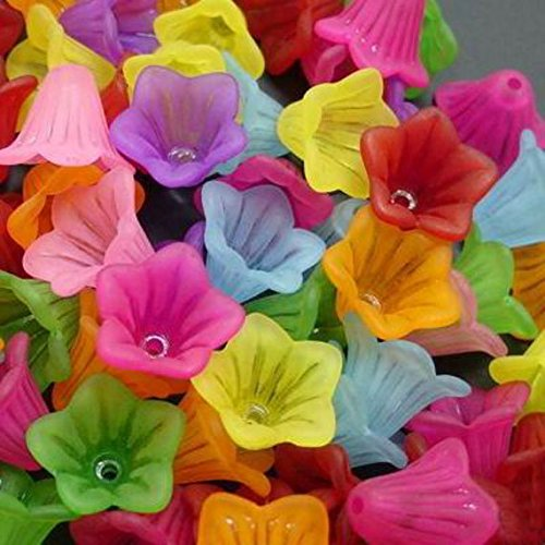 Assorted Frosted Acrylic Lucite Bell Flower Beads for Jewelry Making - 14mm (Colorful ()