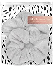 Kitsch Ultra Soft Microfiber Hair Drying Scrunchies for Frizz Free, Heatless Hair Drying, 2 pack, White