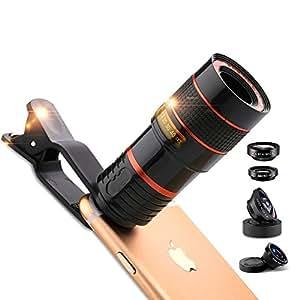 REDLEMON Kit Lentes 5 en 1 para Smartphone, Lente Telescopio (Telefoto), Macro, Fisheye y Gran Angular, Universal para Smartphone y Tablet, Compatible con iPhone, Android y más