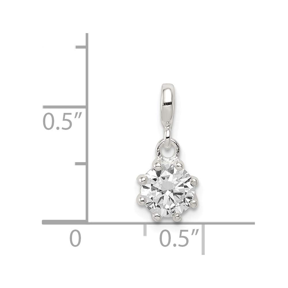 17mm x 8mm 925 Sterling Silver Clear Cubic Zirconia Enhancer