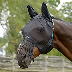 Shires Fine Mesh Fly Mask With Nose Fringe (XFull)