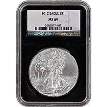 2012 American Silver Eagle (1 oz) Retro Black Core Holder $1 MS69 NGC