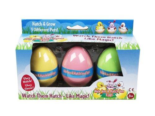 Easter Eggs - The Original Hide 'Em and Hatch 'Em Super Grow Eggs - 3 Different Pets that Grow HUGE - 5-6x Size! (Series 1)