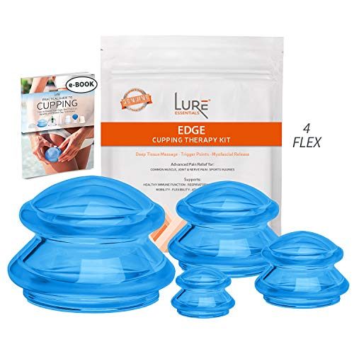 Advanced Cupping Therapy Sets - Edge Flex Silicone Vacuum Suction Cupping Cups for Muscle and Joint Pain Cellulite & More (Brilliant Blue, 4) (Best Anti Cellulite Home Device)