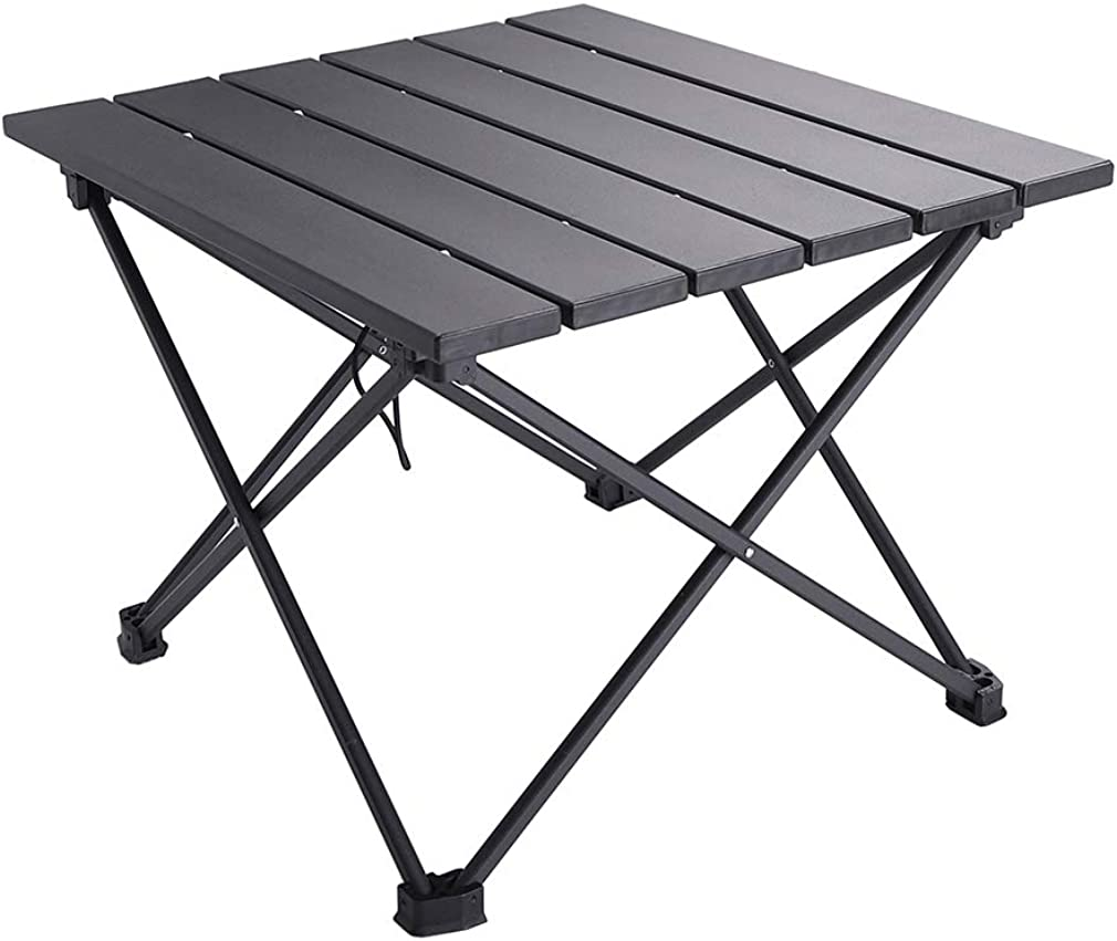 SOVIGOUR Aluminum Folding Camping Table, Portable Compact Roll Up Camp Table, 3 Size Lightweight Picnic Table with Carry Bag for Hiking, BBQ, Fishing and Travel