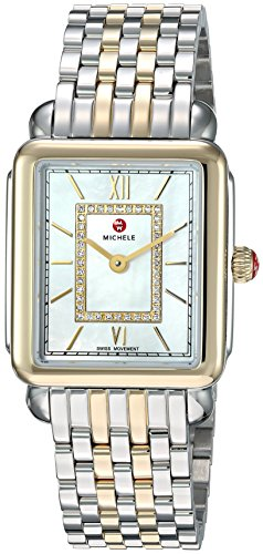 MICHELE Women's Deco Watch Head Swiss-Quartz Stainless-Steel Strap, Two Tone, 16 (Model: MWW06I000024)