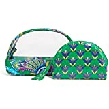 Vera Bradley Clear Cosmetic Duo in Emerald Paisley