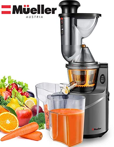 Mueller Austria Ultra Juicer Machine Extractor with Slow Cold Press Masticating Squeezer Mechanism Technology, 3 inch Chute accepts Whole Fruits and Vegetables, Easy Clean Large Nickel (Best Slow Masticating Juicer)