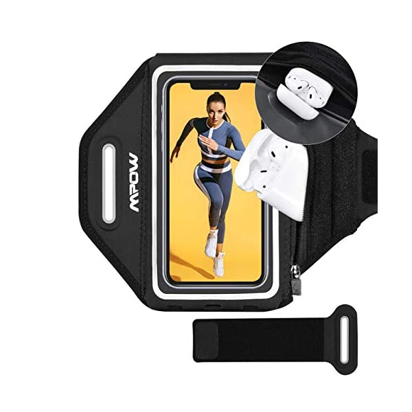 Brassard de Sport, Mpow Brassard Smartphone avec Airpods Poche Zippée, Jusqu'à 6.8 Pouces Ajustable Sangle d'extension…