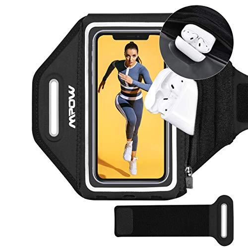 Mpow Sportarmband Handy für iPhone Galaxy Bis zu 6,8 Zoll Vollbildgröße, Sicheres Verstellbares Armband mit Erhöhtem Speicherplatz und Schweißführungsnut für Laufen, Joggen, Wandern, Fitnessstudio