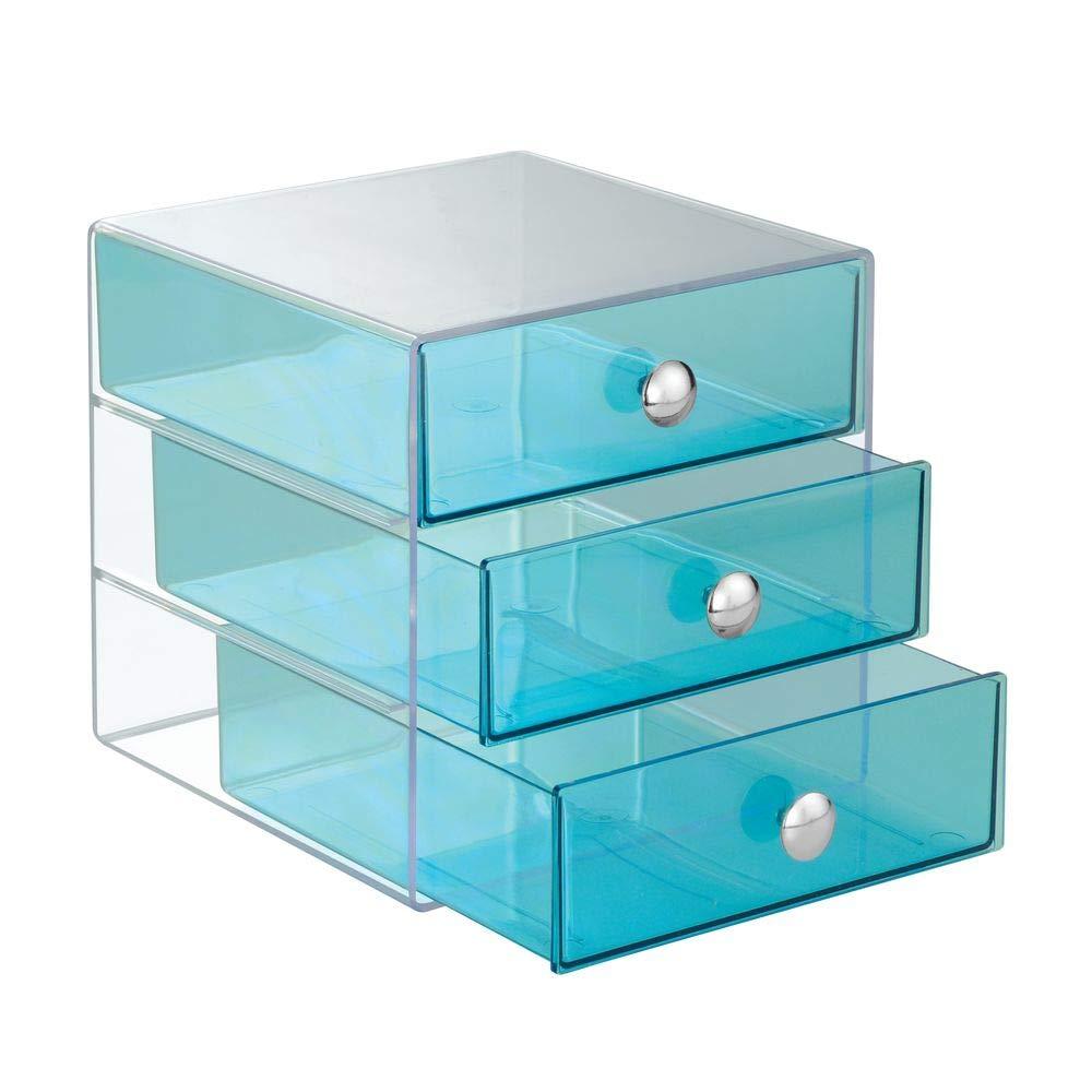 InterDesign 化粧品 小物 収納 ボックス 3段オーガナイザー アクア 35372EJ B00BNUXIRI アクア