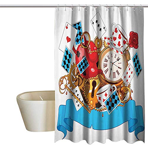 (Alice in Wonderland Decorations Waterproof Bathtub Curtain Mad Design of Cards Clocks Tea Pots Keys Flowers Fantasy World Illustration Shower Hooks are Included W36 x L72 Multi)