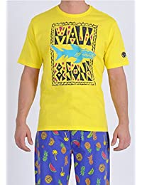 Maui and Sons Shark Crew Neck Tee for Men in Blazzing Yellow