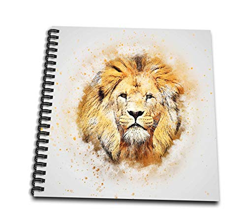 Majestic Lens - 3dRose Lens Art by Florene - Watercolor Art - Image of Portrait Painting of Majestic Lion - Drawing Book 8 x 8 inch (db_300361_1)