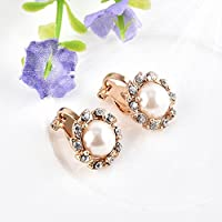 Sumanee Clip On Chic Cream Pearl Crystal Rhinestone Drop Stud Gold Earrings Jewelry