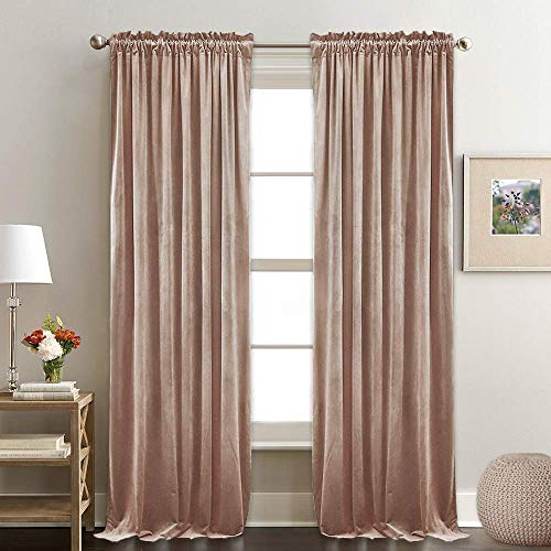 (RYB HOME Decor Room Darkening Velvet Curtains for Bedroom, Draperies with Dual Rod Pockets, Light Block Out Curtains Gift for Girl's Bedroom/Nursery, W 52