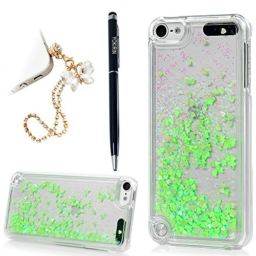 for iPod Touch 5 Case Transparent Clear PC Hard Plastic Shell Bling Sparkle Glitter Quicksand and Little Heart Flowing Liquid Cover for iPod Touch 5 - (Clear Plastic Ipod Case)