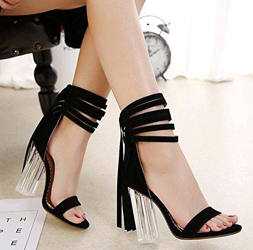 11CM Transparente Cristal Chunkly Heel Borla Sandalias Mujer Moda Abierto Cremallera Borla Correa de tobillo Sandalias Zapatos De Vestir Tamaño de la UE 34-40 Black