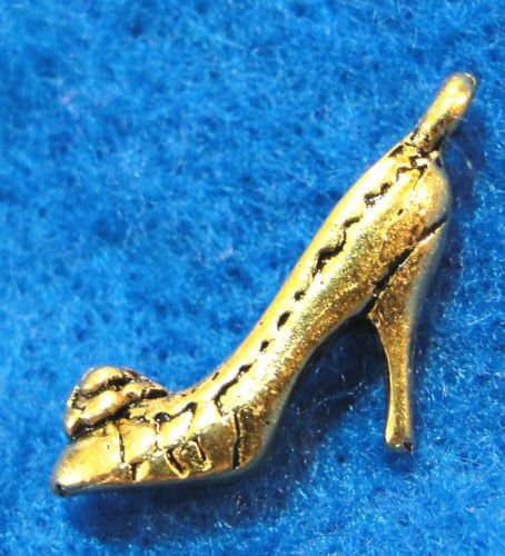 10 PC Tibetan Antique Gold 3D High Heel SHOE Charms - from Jewelry Making Supply Charms Wholesale by Wholesale Charms - Gold 3d Anchor Charm