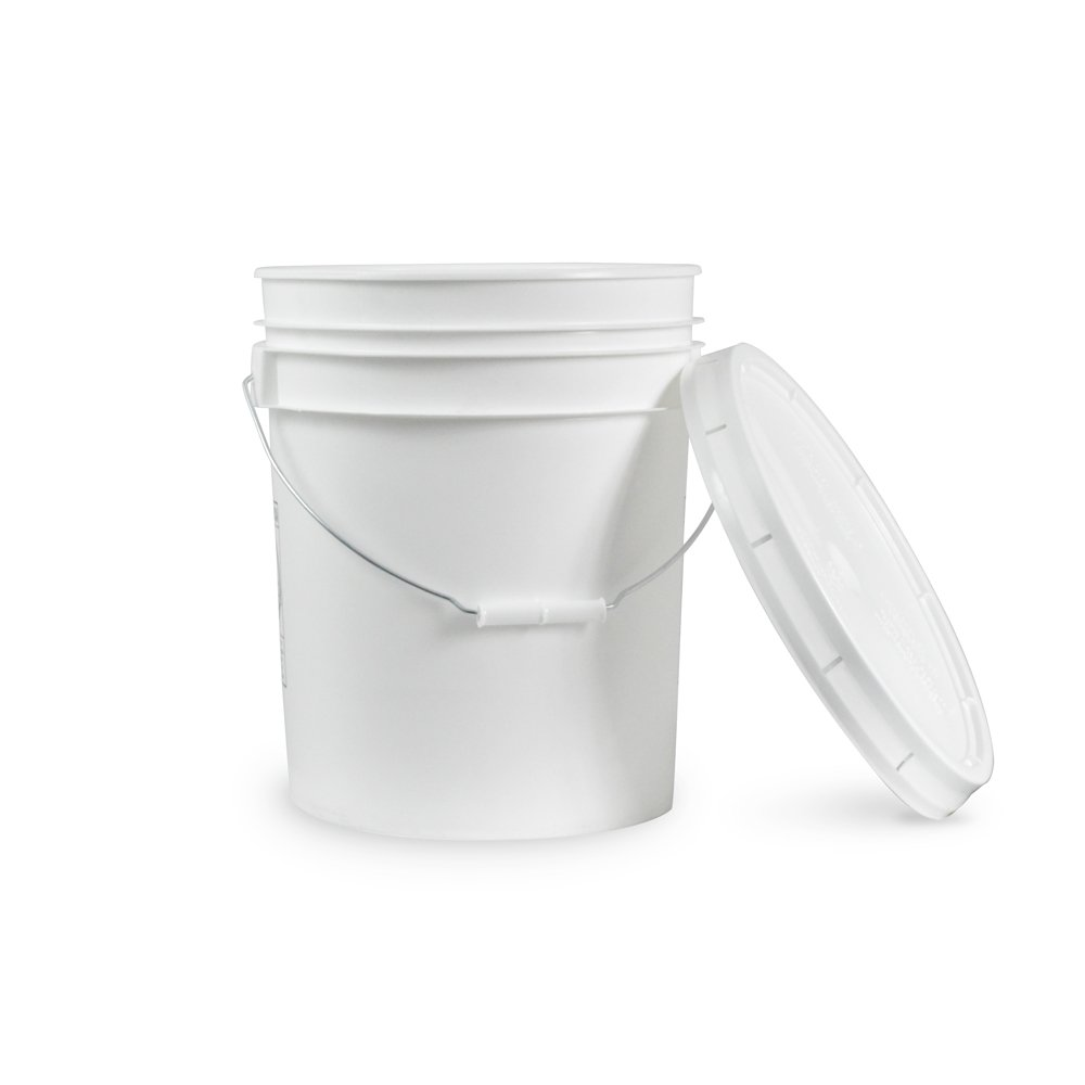 5 Gallon Janitorial White Plastic Bucket with Lid - Durable 90 Mil All Purpose Sanitation Supplies Pail - Multi-Purpose Industrial Buckets (Pack of 10)