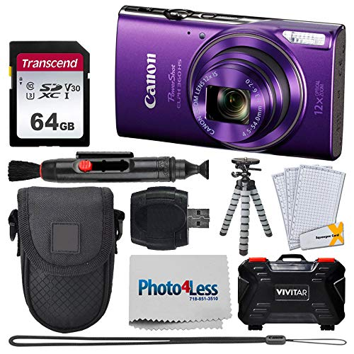 Canon PowerShot ELPH 360 HS Digital Camera (Purple) + Transcend 64GB Memory Card + Point & Shoot Camera Case + Vivitar Memory Card Case (24 Slots) + Flexible Tripod + USB Card Reader + Accessories