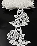 Floral Motifs Boho White Lace Applique Trim Sequins Flower Embroidery Applique Sewing Craft,2 Yards