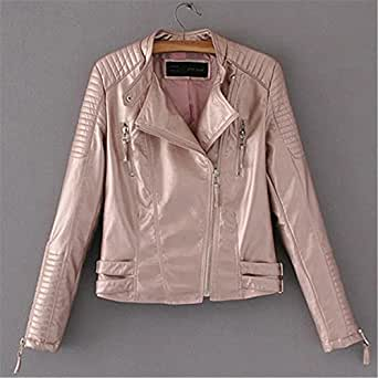 YHQYZZ Top Quality PU New Fashion Cropped Female Leather Jacket Women Black Gold Silver Rose Pink