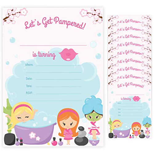 (Spa Day Style 1 Happy Birthday Invitations Invite Cards (10 Count) With Envelopes Boys Girls Kids Party (10ct))