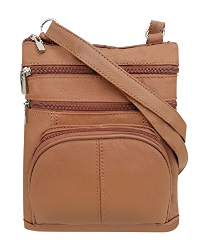 (Roma Leathers Crossbody Zippered Purse - 3 Front Pockets, Adjustable Strap - Light Brown)
