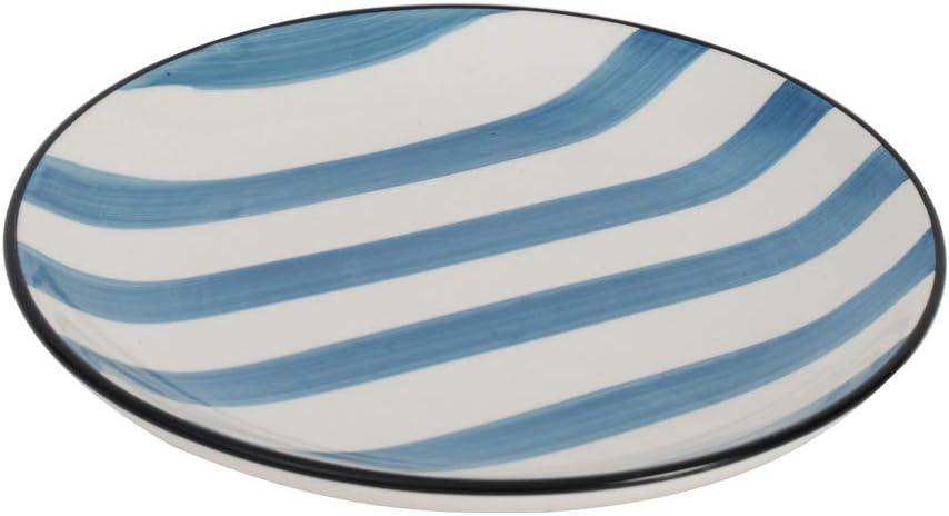 Service de Table Gr/ès pour 4 Personnes- Motif Rayures Color/és Blanc Cr/ème /& Bleu 12 Pi/èces ProCook Dartmouth Grandes /& Petites Assiettes /& Bols