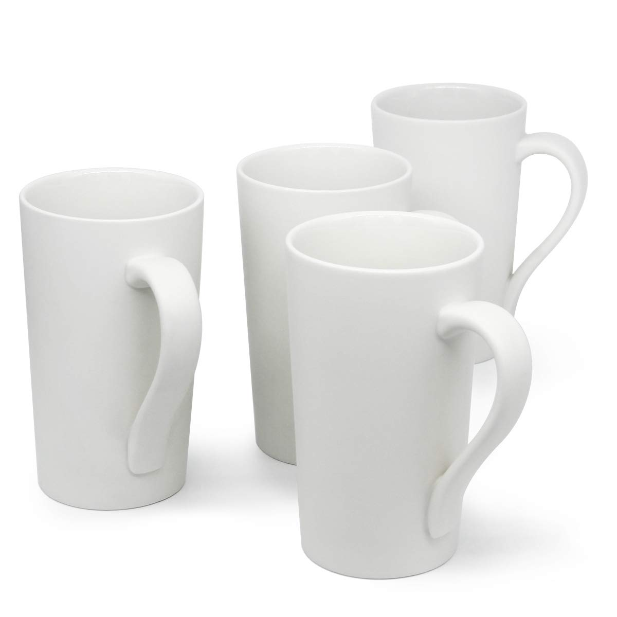 Smilatte M007 Plain Tall Ceramic Cup with Handle for Dad Men 20 Ounce Large Coffee Mugs Set of 2 White