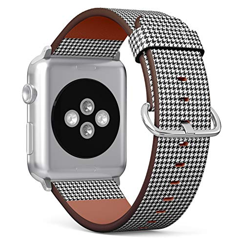 Compatible with Apple Watch (Small Version) 38 / 40mm Leather Wristband Bracelet with Stainless Steel Clasp and Adapters - Houndstooth Image
