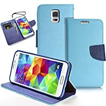 Galaxy S5 Case, MagicMobile® Hybrid PU Leather Flip Cover Case [Heavy Duty] for Samsung Galaxy S5 Folio [Wallet] Protective Case with Foldable Back Stand Cover (Sky Blue)