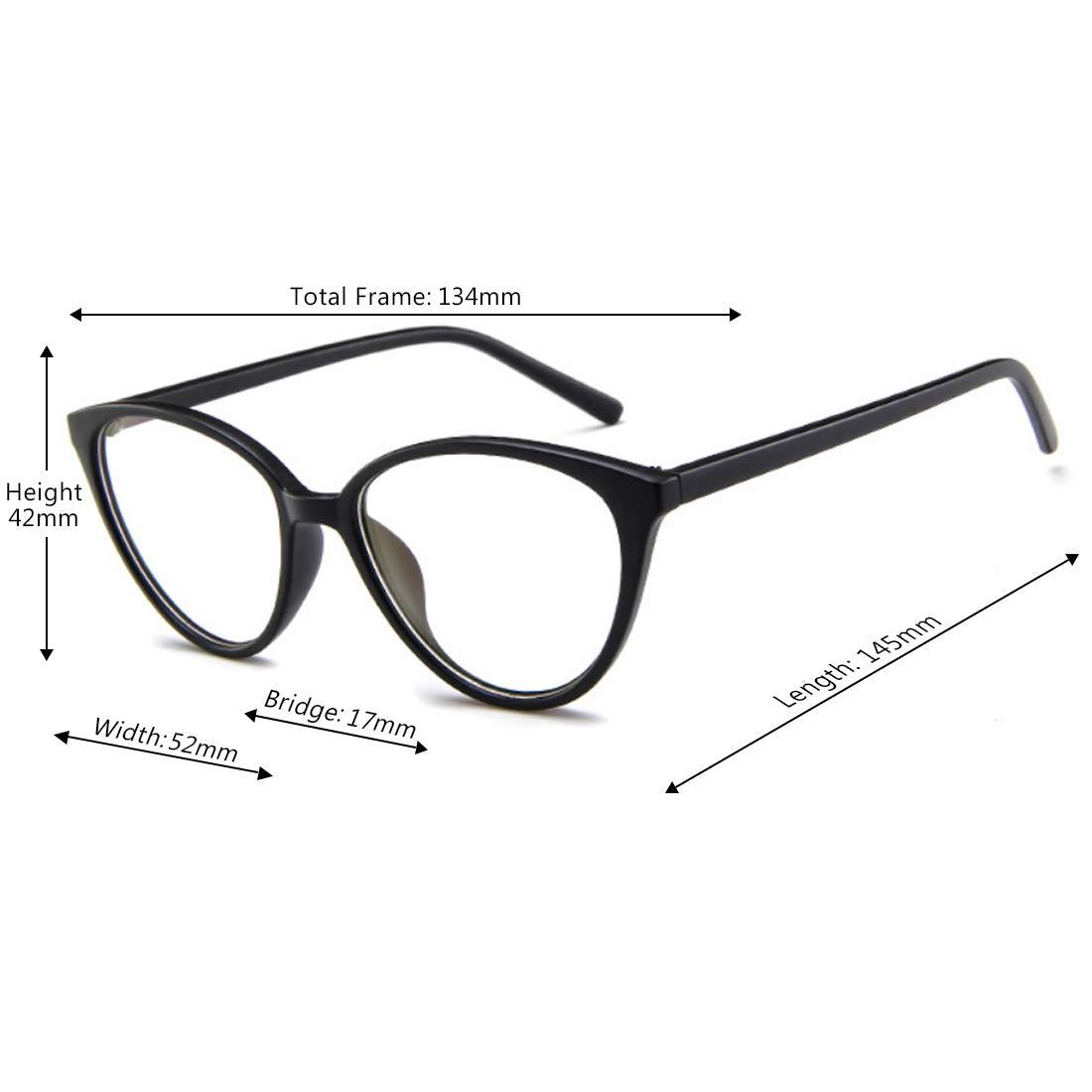 Inlefen Gafas /ópticas para mujer Marco de pl/ástico cl/ásico vintage Ojo de gato Gafas con lentes transparentes