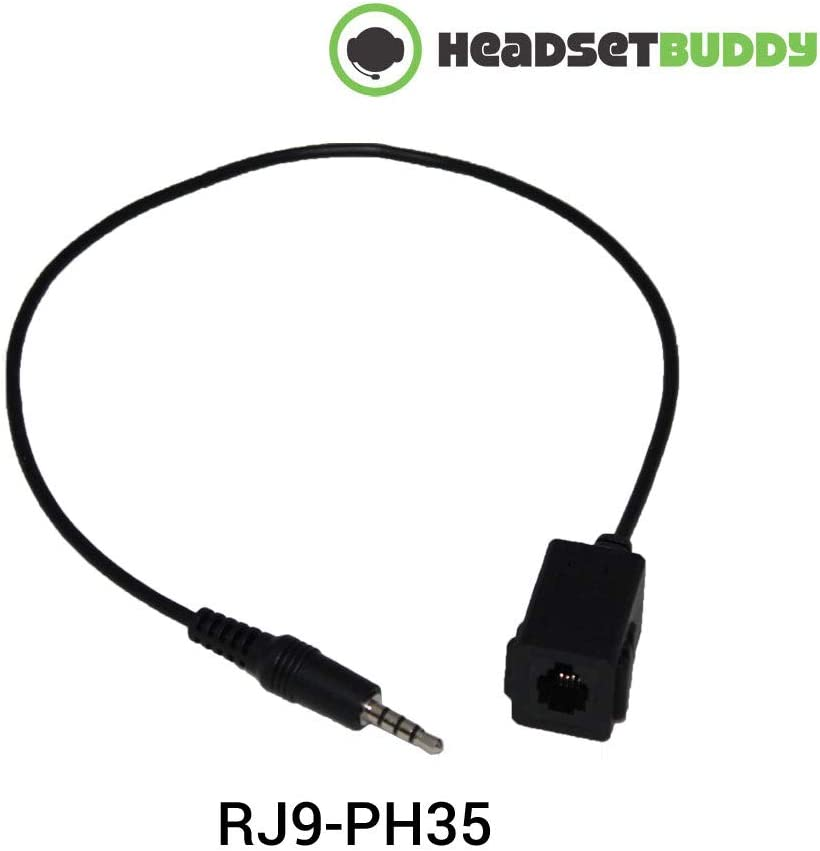 Headset Buddy Female RJ9 Headset Jack to Male 3.5mm Stereo Plug Telephone Adapter Cable for iPhone Smartphone Devices (RJ9-PH35)
