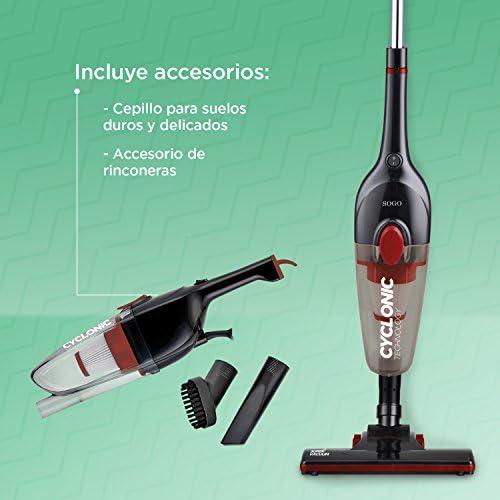 Sogo Aspirateur balai cyclonique 600W, efficacité énergétique A+ Aspirateur balai et à main, 2en 1, avec bac de 0,8l, filtre HEPA, câble de 4,5m. Coloris: noir.
