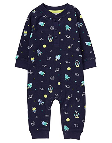 Gymboree Baby Boys Navy Space Print Onepiece, Multi, 3-6 MO (Baby Boy Gymboree Clothes)