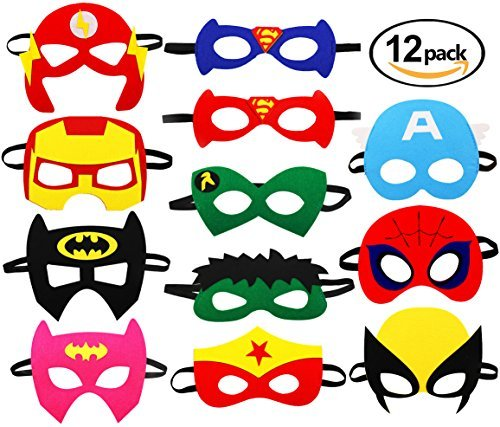 (Superhero Party Mask, 12 pcs Cosplay Character Felt Masks Party Supplies for Boys and)