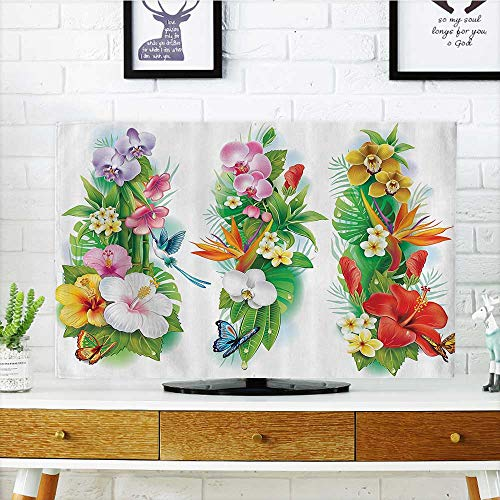 Front Flip Top ouquTropic Hibiscus Bloom Leaf Butterfly Multi Front Flip Top W30 x H50 INCH/TV 52